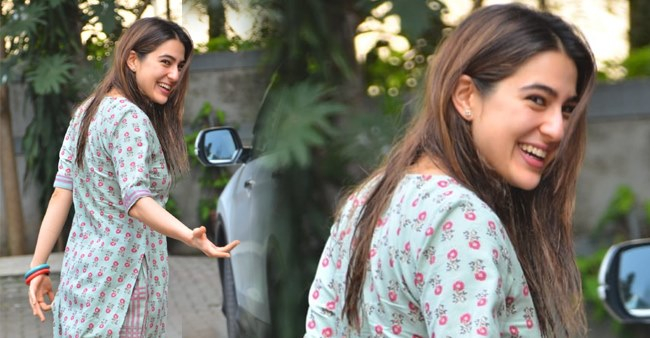 Pics: Sara Ali Khan wins netizens heart with her joyful smile as she papped outside city