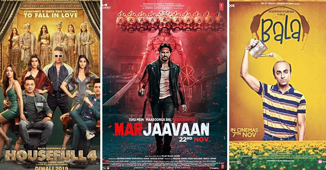 Box Office Collections: Bala close to 100 Cr mark, Marjaavaan collects 32.18 cr, Housefull 4 steady