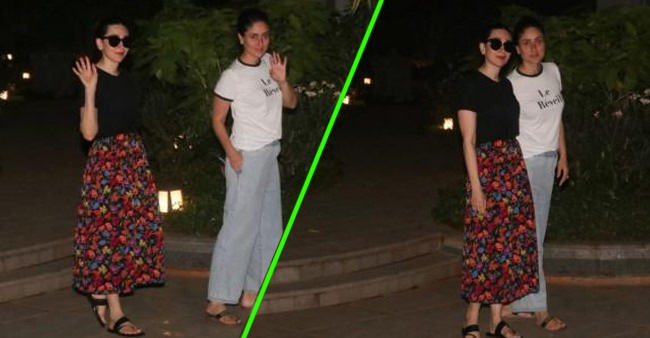 Fashionable sisters Kareena and Karisma redefine casuals as they step out together; See Pics