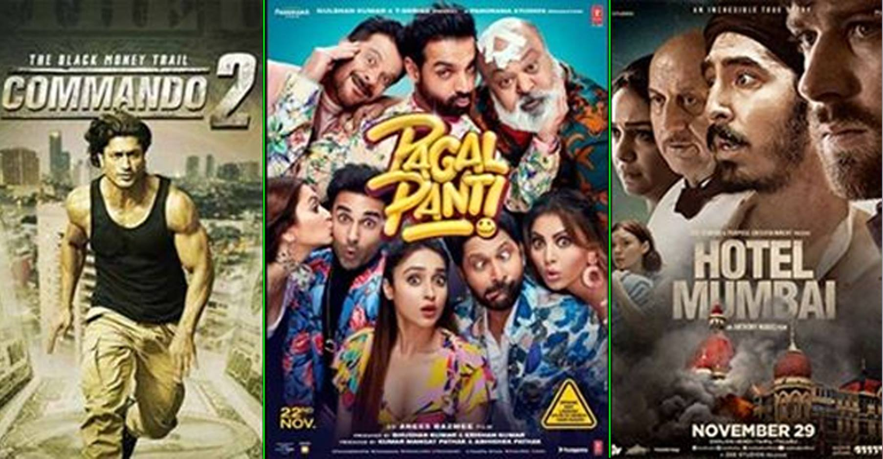 Box Office Collection: Commando attracts attention, Hotel Mumbai and Pagalpanti struggles