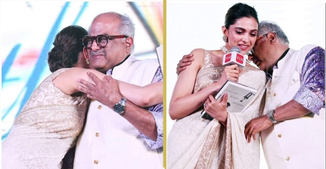 Video: Deepika embraces Boney Kapoor as he gets emotional while launching Sridevi's biography