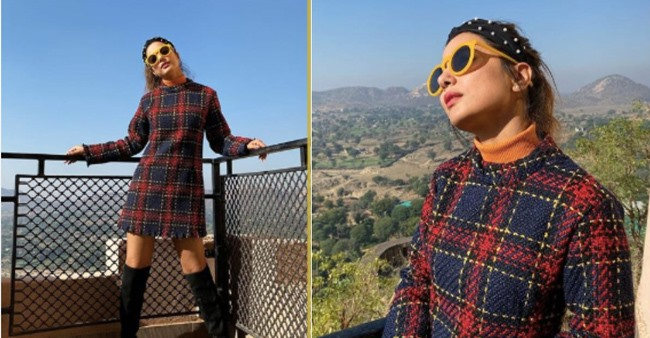 Hina Khan lifts winter styling game as she poses in checkered dress with high boots; See Pics