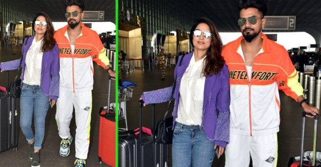 Hina Khan and BF Rocky Jaiswal twin in stylish shades as they papped at airport; Pics