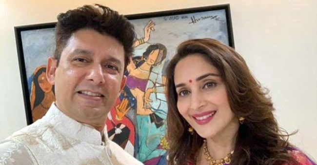 Madhuri Dixit looks gorgeous as she twins in black jacket-denim with hubby Sriram Nene; Pics