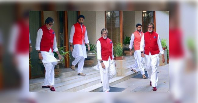 Pic: Abhishek copies Amitabh Bachchan's attire, Big B shares pic with a witty caption