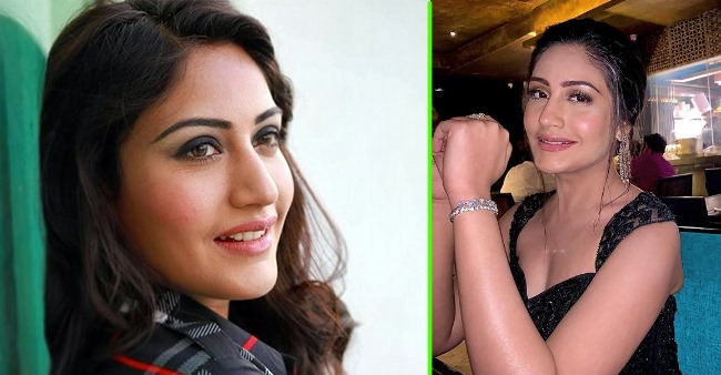 Surbhi Chandna looks ravishing in her black shiny gown with matching earrings, see pic