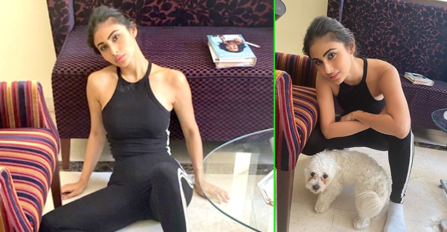 Mouni Roy looks flawless as she poses in full black athleisure with her adorable dog