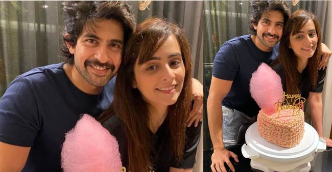 Hussain Kuwajerwala wishes B'Day to wife Tina in a romantic way, cuts cotton candy cake; See pics