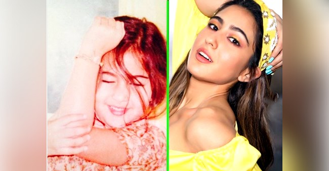 Sara Ali Khan flaunts her style in a 'then vs now' pic, captions 'hum bachpan se hi aise hain'