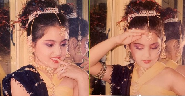 Sara looks like a princess in this throwback pic as she poses in a traditional dress with a shy smile