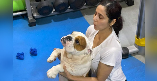 Ram Kapoor's wife Gautami does yoga with pet dog Popeye, he shares pic with a witty caption