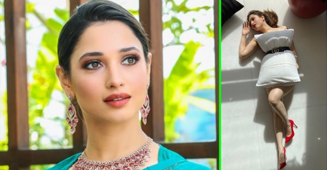 Tamannaah Bhatia looks gorgeous as she completes the 'pillow challenge' in style with a Gucci belt