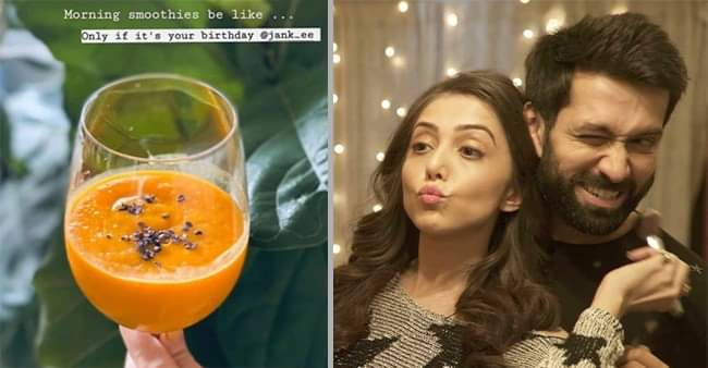 Nakuul Mehta turns into a Chef and prepares Smoothie for wife Jankee's birthday