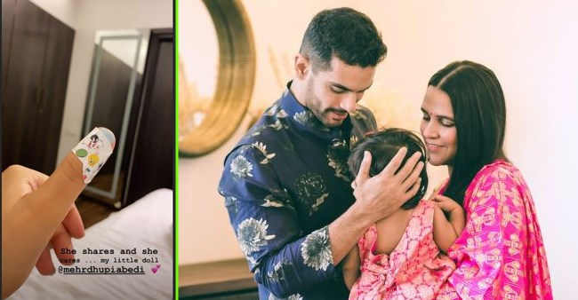 Neha Dhupia reveals baby Mehr's reaction after seeing a 'band-aid' on mommy's thumb; Check out
