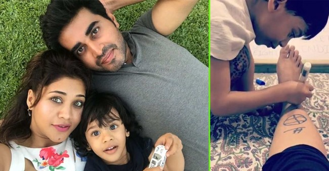 Actress Amrapali Gupta shares an adorable video of son sketching on her legs; Watch