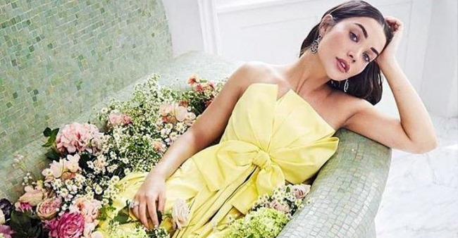 Pic: Amy Jackson blooms like a flower as she poses in a bright yellow dress