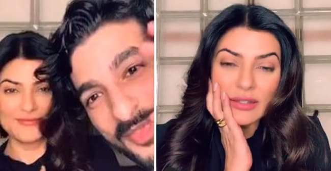 Sushmita Sen's beau Rohman Shawl gave a short appearance in the lady's live session on Instagram