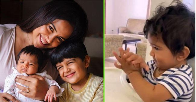 Mommy Sameera Reddy shares an adorable video of baby Nyra enjoying her brother Hans' online classes