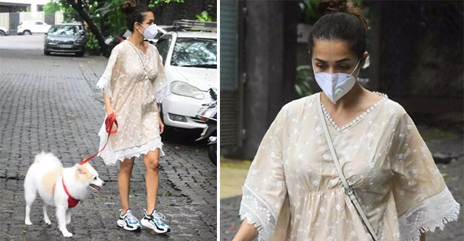 Malaika Arora steps out for an evening walk with her pooch