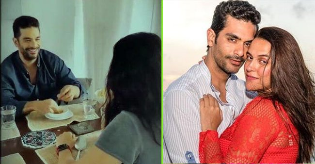 As Angad Bedi romances 'gulab jamuns' in front of wife Neha Dhupia, she accepts those are his first love