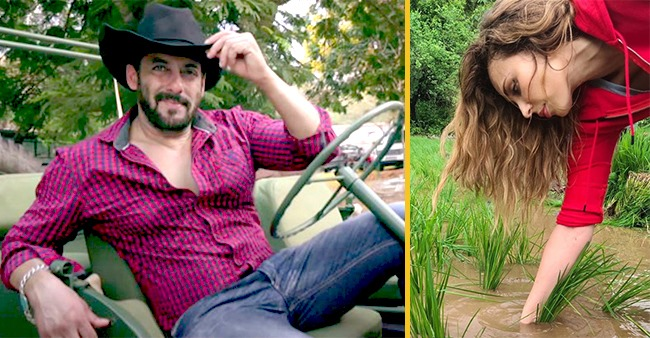 Iulia Vantur remembers her childhood while planting rice at Salman Khan's Panvel farmhouse