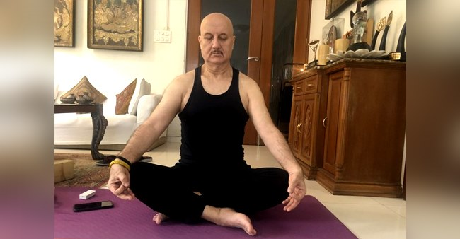 Anupam Kher trying to keep his cool with Yoga and meditation