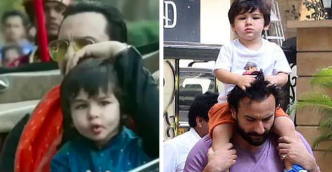 Taimur Enjoys A Car Ride With Saif As Abba Pats On His head In This Throwback Video