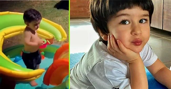 Taimur Ali Khan's throwback video, looks adorable playing a baby pool on his own