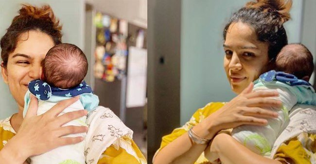 Shikha Singh's baby girl Alayna turns three month old; has her daddy's smirk