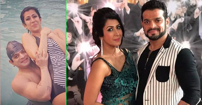 Karan Patel lifts wifey Ankita for a picture as they enjoy in the pool