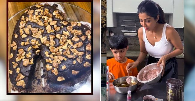 Shilpa and son Viaan bake brownies for their little one Samisha's first daughter's day