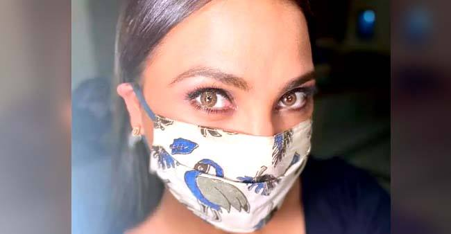 Lara Dutta glams up the 'new normal' game as she flaunts her designer mask; See pic