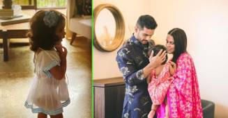 Baby Mehr jump into Neha Dhupia's photo session, mummy tries to cover her face; Watch video