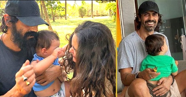 Gabriella shares a glimpse of Arjun Rampal trying to explain something to his son Arik