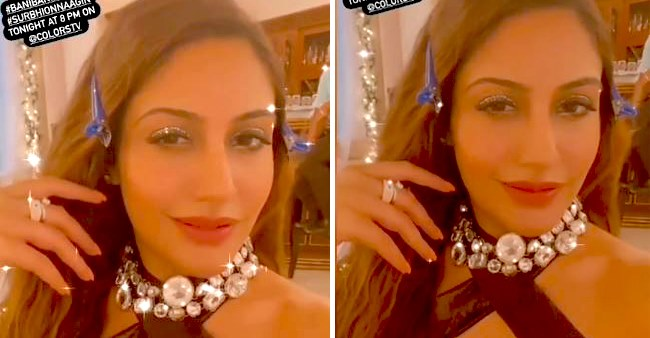Surbhi Chandna dazzles in a shimmery saree and a halter neck blouse on Naagin 5