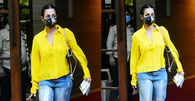 Malaika Arora Snapped Outside Her Mumbai Residence Post Pandemic Recovery