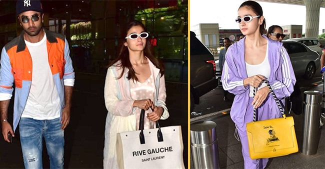 Alia Bhatt looking stunning while carrying expensive handbags to airport