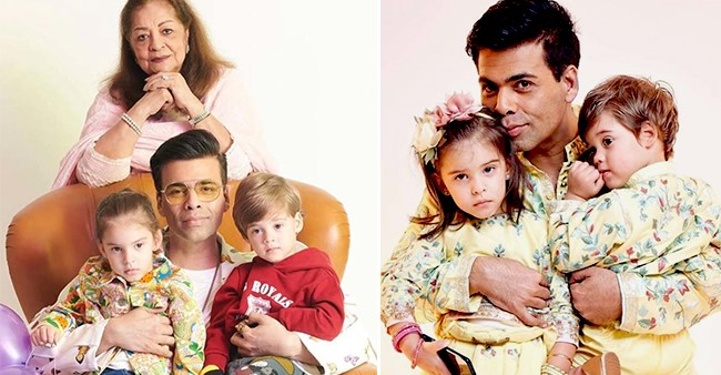 Karan Johar with both his twins, Yash and Roohi in one frame is simply adorable
