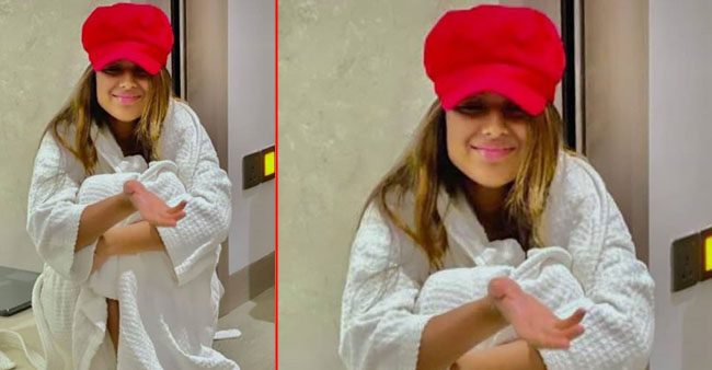 Nia Sharma grabs attention as she shares a new photo while posing in a bathrobe