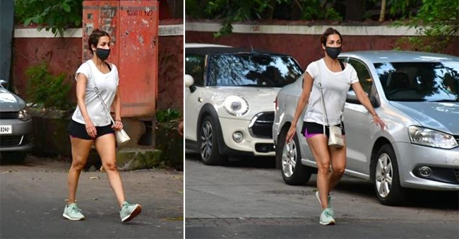 Malaika Arora steps out for a rigorous evening walk wearing a mask