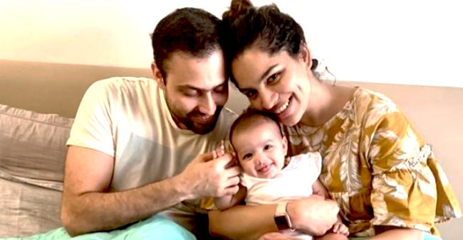 Shikha Singh shares the perfect family picture as she cuddles with her baby girl and hubby