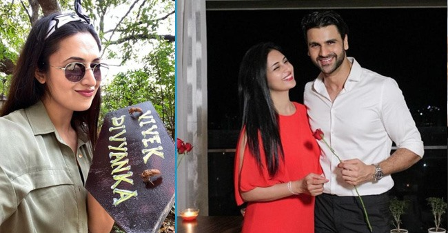 Divyanka Tripathi and Vivek Dahiya hand paint their name together