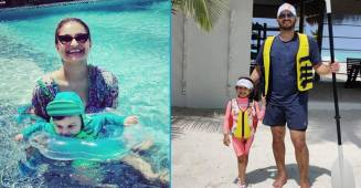 Dimpy Ganguly's baby boy, Aaryan Roy takes him first swim in Maldives