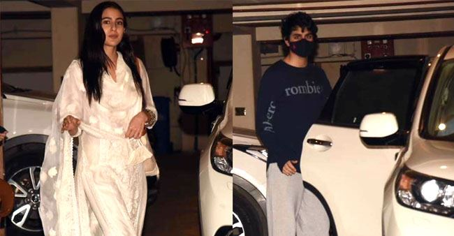 Sara Ali Khan snapped with brother Ibrahim outside Saif and Kareena's residence