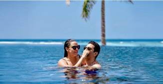 Angad Bedi shares a throwback pool picture with wifey Neha Dhupia from their Maldives vacay