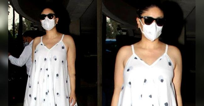Kareena Kapoor flaunts her baby bump and glow in a strappy white dress