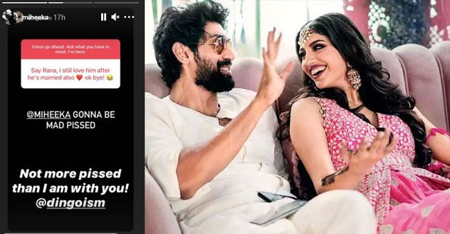 Rana Daggubati's wife, Miheeka Bajaj has a witty reply to a fan confessing her love to Rana