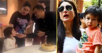 Taimur's enthusiasm while celebrating a staffer's birthday with Saif and Kareena is too cute to miss