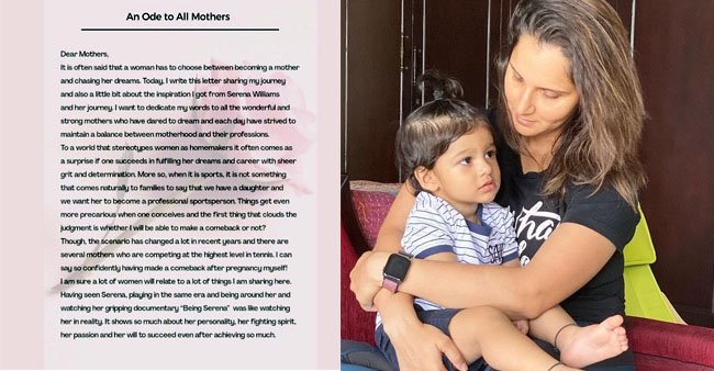 Sania Mirza pens down a compelling caption on making a comeback after embracing motherhood