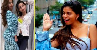 Suhana Khan misses her cousin Alia Chhiba, flaunts mommy's dress in a pic with her